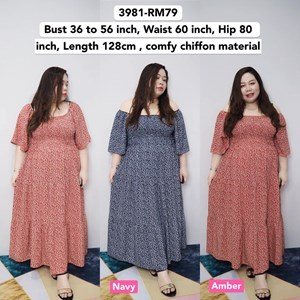 3981 *Ready Stock *Bust 36 to 56 inch /91 -142cm