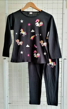 Pyjamas PLAIN UNICORN STAR 2 Black - Long Sleeve (Big Size) 11y-16y