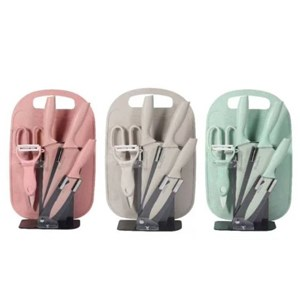 7 Pcs Knife Set With Chopping Board And Holder Stand