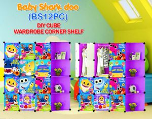 Baby Shark Doo PURPLE 12C DIY WARDROBE w CORNER RACK (BS12CP)