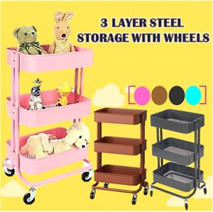 3 LAYER STEEL STORAGE WITH WHEELS