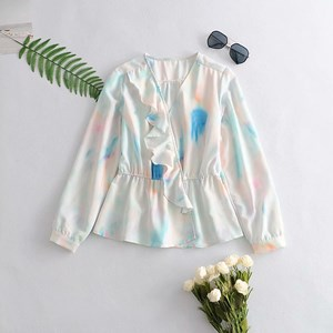 V-neck Long Sleeved Ruffled Paint Color Top