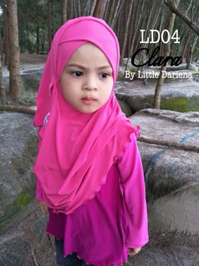 CLARA Instant Shawl - LD04 ( Shocking Pink ) +Free Pin Tudung