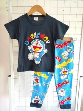 Pyjamas Short Sleeve PLAIN DORAEMON Blue Black (Kids 2 -8)