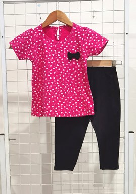 [SIZE 12/18M - 24/30M] Baby Girl Set : MINI LOVE PINK WITH BLACK PANT (9m - 36m) NF