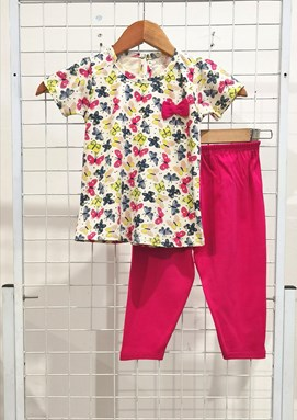 [SIZE 24/30] Baby Girl Set : MIX BUTTERFLY CREAM WITH HOT PINK (9m - 36m) NF