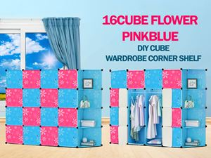 Flower Checker PinkBlue 16C DIY Cube w Corner Rack (BB16CR)