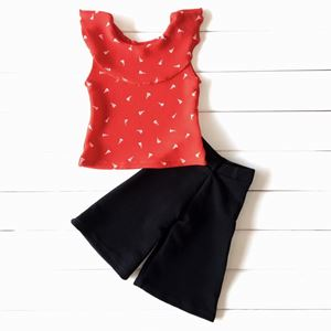 PALAZZO SET 018 (  RED TOP BLACK PANT  )