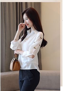 Long-Sleeve Back Button Shirt