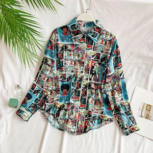 Cartoon Printed Loose Shirt