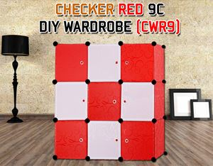 CHECKER RED 9C DIY WARDROBE (CWR9)