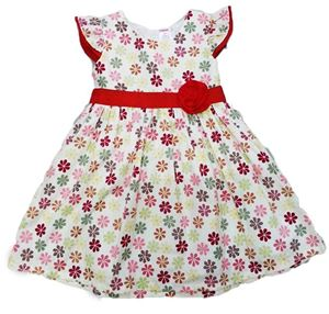 GYMBOREE DRESS ~ RED SMALL FLOWER