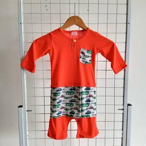 Baju Melayu Rompers 12-24m, ( Orange With Cars Sampin)