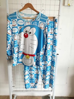 Pyjamas Dewasa Short Sleeve Doraemon Emoji Light Blue