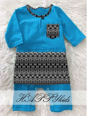 BAJU MELAYU ROMPER / JUMPER WITH ATTACHED SAMPIN ( LIGHT BLUE)