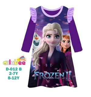 @  AILUBEE  FROZEN  PURPLE  DRESS  SLEEPWEAR ( D012-B  ) SZ  2Y - 12Y