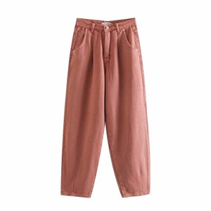 PLEATED LOOSE HIGH WAIST BAGGY JEANS IN BRICK RED