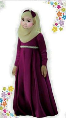 Dress Jubah Kids + Tudung Beriben - Maroon - Big Size