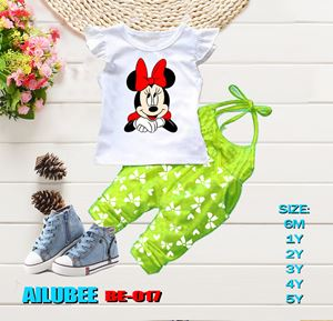 BE017 ( MINNIE GREEN - SHORT SLEEVE ) AILUBEE BABY JUMPSUIT 2PCS SET