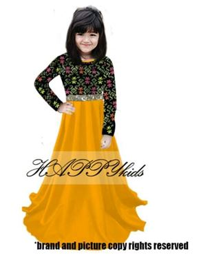 Dress Raya Songket For Girl - Kuning