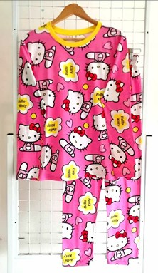 Pyjamas HELLO KITTY PINK : Size DEWASA 3XL (HF)