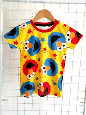 T-Shirt Short Sleeve ELMO STAR YELLOW: Size 1y-6y (1 - 6 tahun) TW