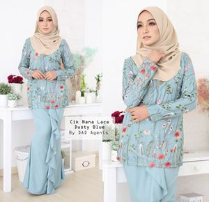 Kurung Cik Nana Lace Dusty Blue