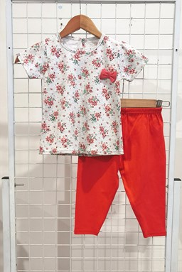 [SIZE 12/18M - 30/36M] Baby Girl Set : BROWN FLOWER WHITE WITH ORANGE PANT (9m - 36m) NF