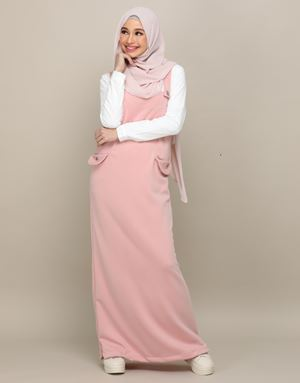 ADELINE OVERALL DRESS IN BLUSH