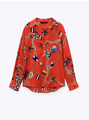 ANCHOR ROPE PRINTED RED INSPIRED TOP