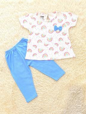 [SIZE 12/18M - 24/30M] Baby Girl Set : RAINBOW WHITE WITH SKY BLUE PANT (12m - 36m) SDM
