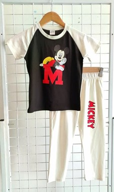 Pyjamas PLAIN MICKEY BIG M White Black - Short Sleeve 1y - 8y (KWF)