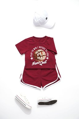 J & Y CASUAL SPORT SETS -  MAROON BALL NEVER QUIT   ( SIZE 2-7Y )