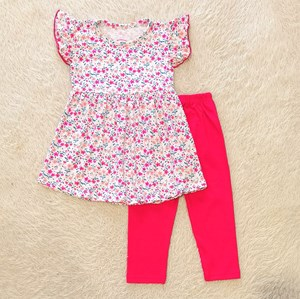 [SIZE 1/2Y] Girl Set Frock : PINK FLOWER WHITE WITH HOT PINK PANT (1y - 6y) SPG