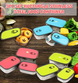 3Pc Set Rectangle Stainless Steel Food Container