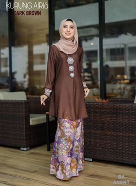 BAJU KURUNG MODEN AIRIS DARK BROWN
