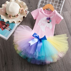 T00900-1  1Year Old RAINBOW Baby Birthday ClotheS
