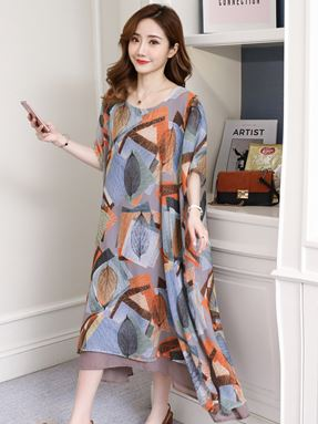Round-Neck Chiffon Loose Dress