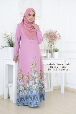 Jubah Humairah Milky Pink