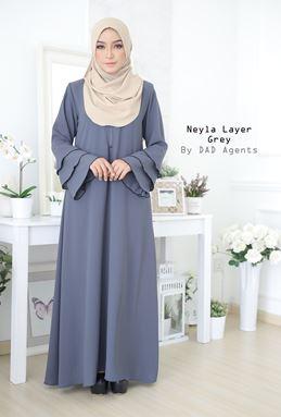 Jubah Neyla Layer Grey