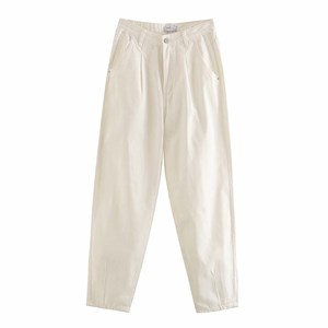 PLEATED LOOSE HIGH WAIST BAGGY JEANS IN CREAM