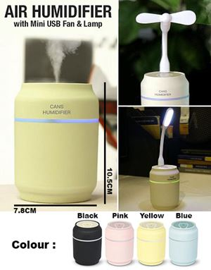 Mini Humidifier 3-in-1 Portable Mist Humidifier with USB Fan, LED Light