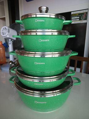 10PCS DESSINI GRANITE GREEN (GLASS LID)