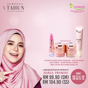 NURRAYSA Exclusive Glowing Cream Foundation + Flawless Mineral Loose Powder + Shinning Mineral Blusher + Magic Lipstick