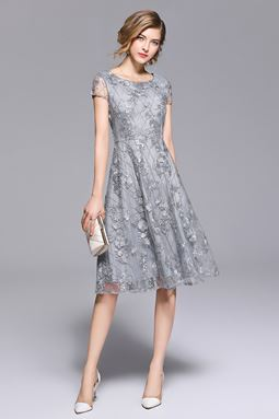Embroidered Gray Slim Lace Dress