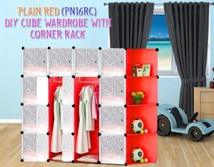 Plain Red 16C DIY Wardrobe With Corner Rack (PN16RC)