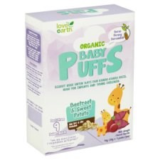 Love Earth Organic Baby Puffs Beetroot & Sweet Potato from 9 Month 4 Packs x 10g (40g)