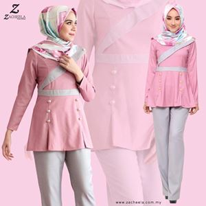 FIORELLA BLOUSE & PANTS (PINK/GREY)