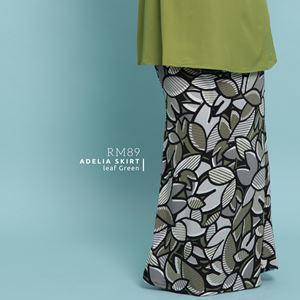 Adelia Skirt Printed : Leaf Green