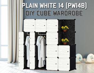 Plain White 14C Diy Wardrobe With Corner Rack (PW14BC)